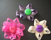 Trio Pack- Solid, Polka Dots, Stripes- Hot Pink, Purple and Green, Rainbow Alligator Clip Hair Bow