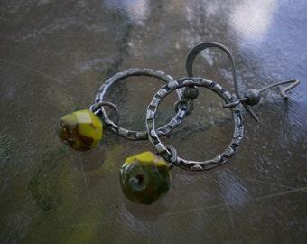 Avocado Czech Glass and Metal Ring Earrings