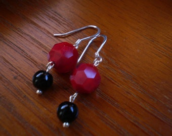 Bright Holiday Red & Shiny Black Earrings - Sterling Silver Hooks
