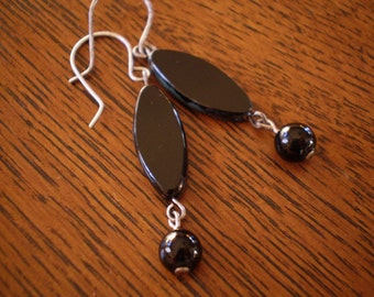 Oval Black Czech Glass Dangle Earrings with Antique Silver Handmade Earring Hooks