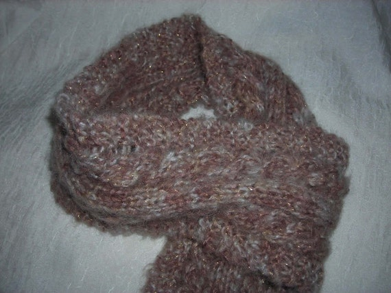 Metallic Taupe and White Cabled Scarf