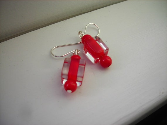 Holly Berry Red Furnace Glass Bead Earrings with Sterling Silver Hooks