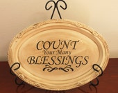 Count Your Blessings Thanksgiving vinyl lettering decal