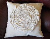 Shabby Shic Rosette Pillow Canvas 16x16