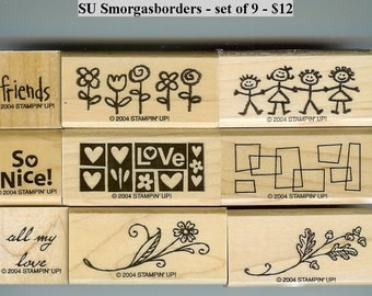 Stampin Up Smorgasborders set of nine rubber stamps