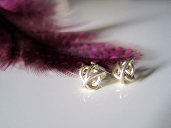 Sterling Silver Tiny Forever Love Knot Stud Earrings