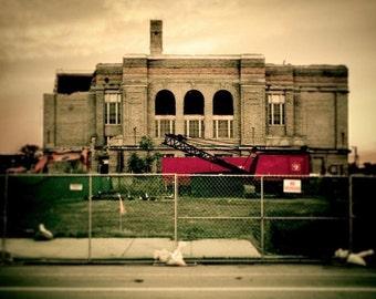 "Jacob Riis Elementary abandoned building demolition cityscape chicago surreal fine art photograph ""In Progress"""
