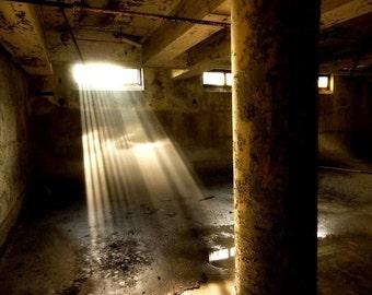 "Abandoned building gary indiana basement sun shadows surreal fine art neglected beauty photograph""Sun Rays"""