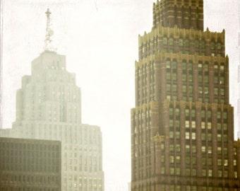 "Detroit architecture photograph surreal fine art skyscraper cityscape ""David Stott and Penobscot Building"""