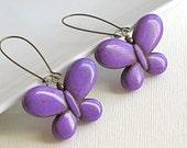 Purple Butterfly Earrings - Brass