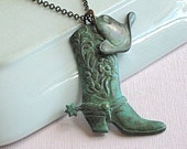 Cowgirl Boot Hat Necklace - Western, Texas, Jewelry, Cowboy