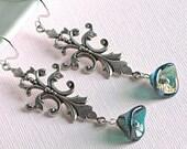 Teal Flower Earrings -  Victorian, Silver, Czech Glass