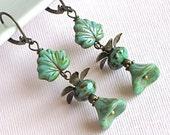 Turquoise Earrings - Jewelry, Czech Glass Maple Leaf, Flower, Brass
