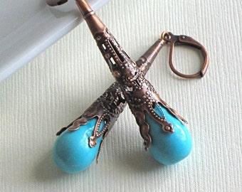 Turquoise Trumpet Earrings - Copper Filigree