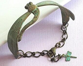 Verdigris Dragonfly Bracelet Cuff - Brass, Patina Jewelry, Dragonfly Jewelry, Nature Jewelry, Cuff Bracelet