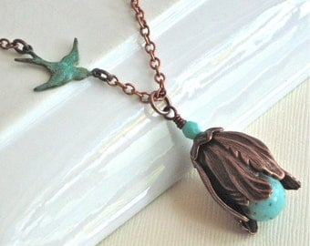 Turquoise Copper Flower Bud Necklace - Patina Bird
