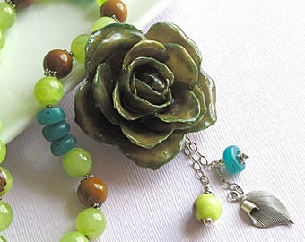 Real Rose Necklace - Large Rose Necklace, Olive Green Necklace,  Agate, Sterling Silver, Real Flower Jewelry