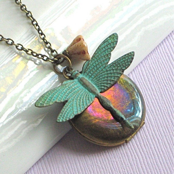 Dragonfly Locket Necklace - Verdigris Brass