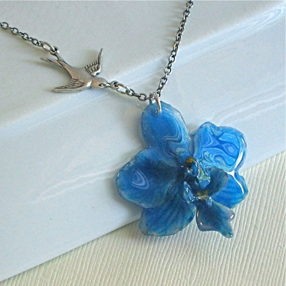 Real Mini Orchid Necklace - Blue, Natural Preserved, Sterling Silver