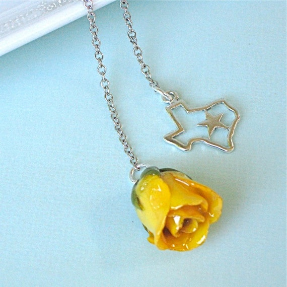 Yellow Rosebud Texas Lariat Necklace - Natural Preserved,  Sterling Silver, Flower Jewelry, State Jewelry