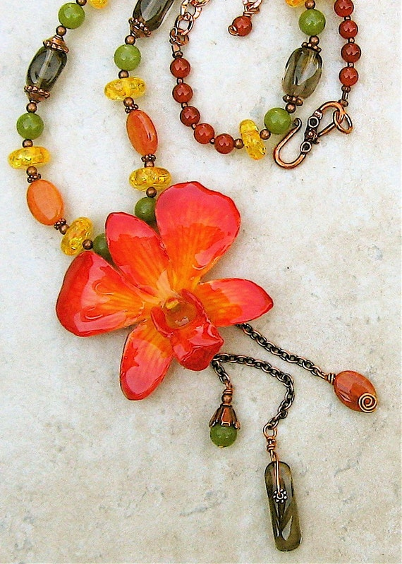 Copper Canyon - Preserved Orchid\/Smokey Quartz\/Carnelian\/Amber\/Jade Necklace