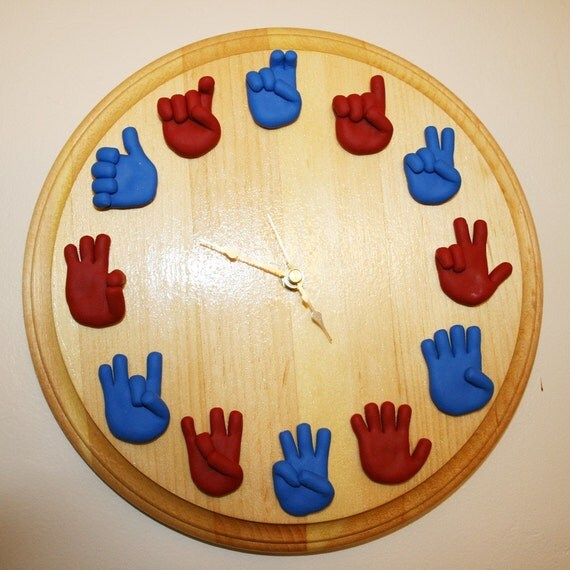 American Sign Language Clock - Unique Handmade ASL Clock - Wall Decor - Gift for Teacher - Classroom Teaching Aid for Telling Time