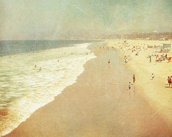 BUY 2 GET 1 FREE California Photography, Santa Monica, Travel, Beach Photo, Sand, Ocean, Summer -Santa Monica in a Polaroid  Fine Art Print
