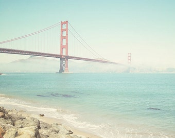 San Francisco, California Photography, Golden Gate Bridge, fpoe, Soft, Orange, Summer, Ocean, Travel Photography - Mist in the