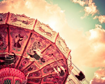 BUY 2 GET 1 FREE Carnival Photography, Nursery, Dreamy, Swing, Summer, Sky, Magical, Look up, Clouds, Childrens Room - Magic in the Sky