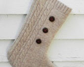 Oatmeal Button Wool Stocking Ready to Ship