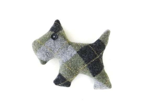 Scottie Dog Olive Drab Argyle
