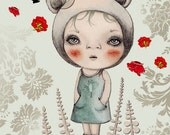 "Bohemian Illustration, Art Print, Whimsical, Fantasy Picture ""Roses are Red"" 5x7"""