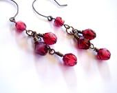 Red Beaded Dangle Chandelier Vinatge Style Brass Earrings