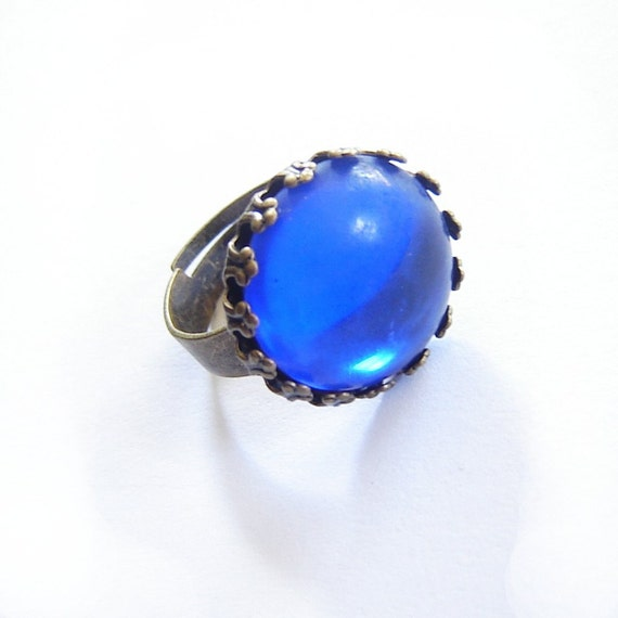 Blue Cabochon Ring Adjustable Vintage Style Glass Antiqued Brass