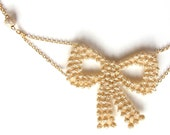 Gold Bow Lace Necklace