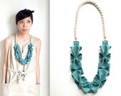 Origami Hana Rope Necklace - Seafoam Green
