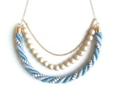 Crescent Moon Rope Necklace - Blue Mix