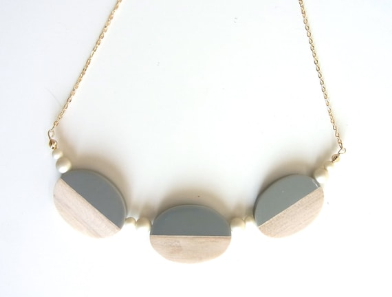 LAST ONE - Acrylic and Wood Hug Necklace
