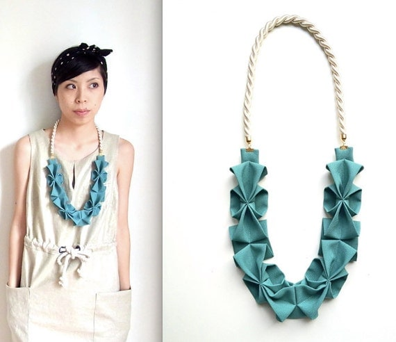 Origami Hana Rope Necklace - Seafoam Green