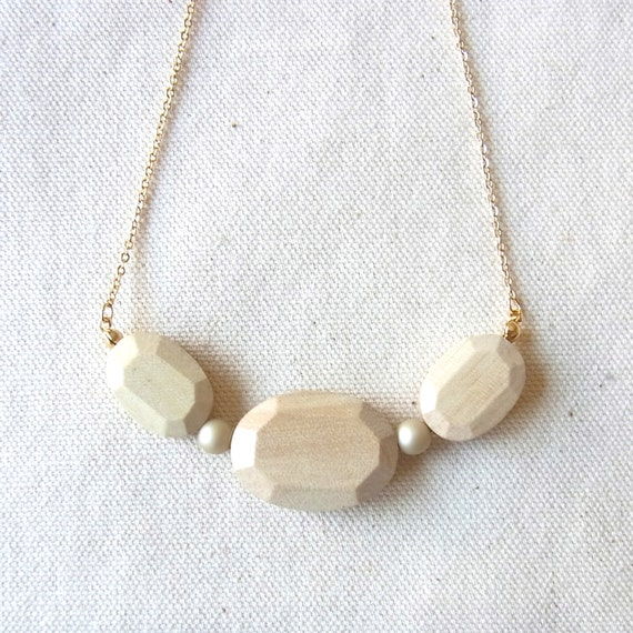 LAST ONE - Wood Jewel Necklace -  Natural