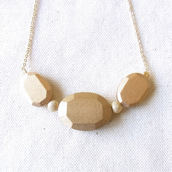Wood Jewel Necklace-Gold