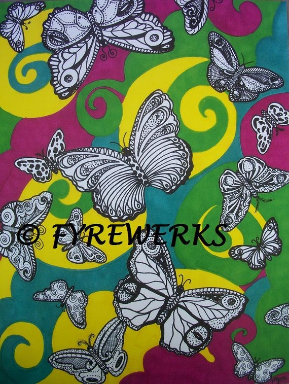 Psychedelic Butterflies Print