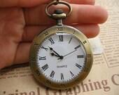 2pcs Antique Bronze Finish Vintage Roman Style Pocket Watch