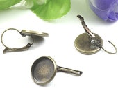 10pcs Antique Bronze French Earwire Hook With Round Pad 14mm
