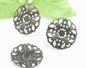 10pcs Antique Bronze Earring Posts With 22mm Flower Pattern Round Base Pad