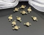 50pcs Antique Bronze Finish Heart Charms / Connectors 10x5.5mm