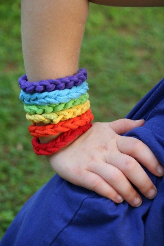 roygbiv on your sleeve crocheted t-shirt yarn bracelet for little girls by yourmomdesigns(rts)