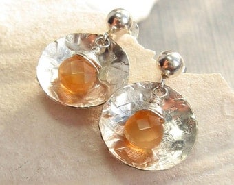 Sterling Silver Hammered Textured Disc with Wire Wrapped Carnelian Briolette Earrings - Gemstone Silver Earrings