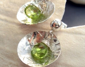 Sterling Silver Peridot Earrings - Shiny Sterling Silver Disc Earrings - Gemstone Stud Earrings - Silver Peridot Earrings
