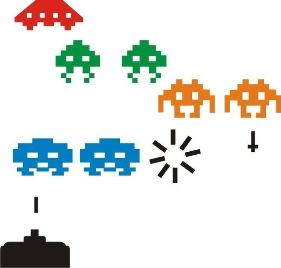 Viny wall art decal colour space invaders - Space invader wall stickers ...